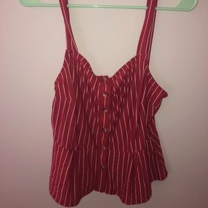 Red Striped Blouse from PacSun